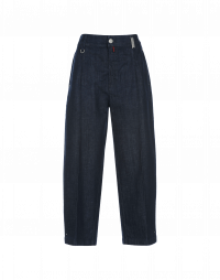 RESOLUTE: Wide leg jeans with side seam pleat