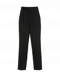 BRISK: Straight leg pant in black herringbone with broken stripe