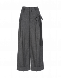 COMPLY: Wide leg pant with side tie in grey marl