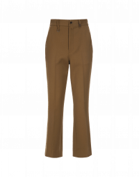 LOYAL: Flat front pants in dark tan virgin wool