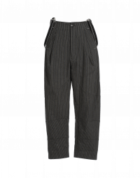 INTENT: Grey cotton fine stripe pant with braces