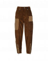 SCOUNDREL: Brown corduroy and cotton twill multi-pocket pants