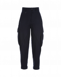 OUTDO: Tapered leg cargo pants in navy