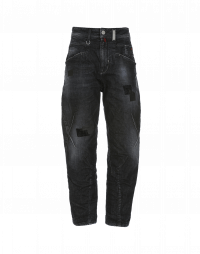 RESOUND: Patched jeans with criss-cross front leg seam
