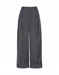 MIMICRY: Pleated pant in grey, black and blue stripe