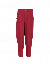 JOYRIDE: Schmale Hose aus hellrosafarbigem Baumwoll-Leinenmischgewebe
