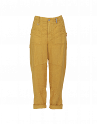 JOYRIDE: Flat front tapered pants in saffron cotton and linen