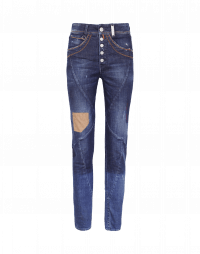 RIGOR: Jeans aderenti con cuciture diagonali e impunture marroni
