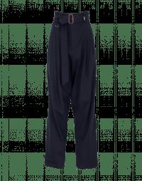 OUT OF BOUNDS: Pantaloni blu a vita alta in lana