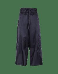 DIVERGE: Pantaloni ampi in seta e cotone blu navy