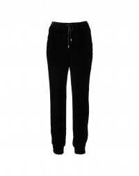 ADVANTAGE: Pantaloni in velluto nero con coulisse in vita