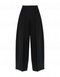 SLEEK: Wide leg, cropped pants in black twill