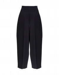 SLEEK: Pantaloni ampi in twill color blu navy