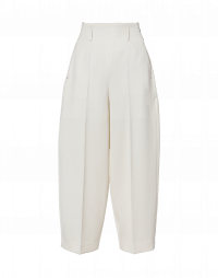 SLEEK: Pantaloni ampi in twill color crema