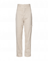 CLAMBER: High waisted pant in soft pale beige twill