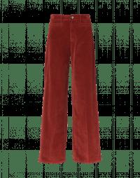 FOLLOW ON: Hi-waisted wide leg pant in terracotta velvet