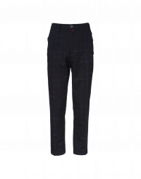 CULT: Hi-waist flat front pants in navy and blue check