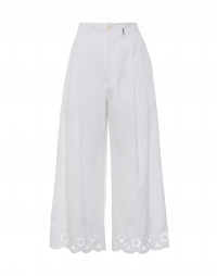 HOOPLA: Embroidered wide leg pants in white cotton