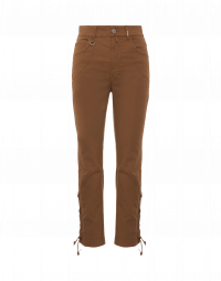 VIVACITY: Lace-up leg pants in tobacco twill