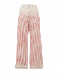 FALLOW-ON: Wide pants in red faded stripe cotton bull denim