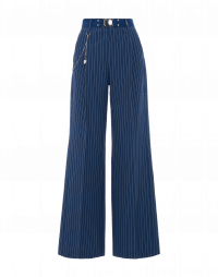 SCRUTINY: Pantalone a palazzo in seersucker gessato blu medio