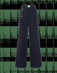 SCRUTINY: Pantalone a palazzo in seersucker gessato blu navy