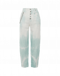 OPEN-OUT: Pantaloni in broken twill con tie-dye verde menta