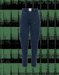 BRAVERY: Navy jodhpur pants in cotton and linen