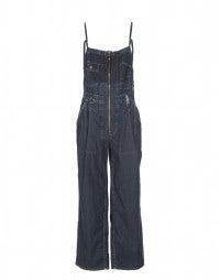 SAWYER: Huckleberry zip front denim salopette