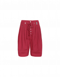 SCANTY: Red cotton and linen 4 pleats shorts