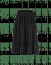 REVOLVE: Full, pleated skirt in dark grey with polka dot hem