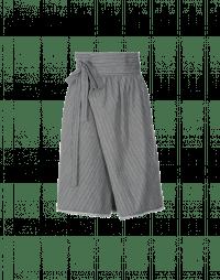 CROSSOVER: Gonna a pantalone a vita alta in cotone grigio rigato