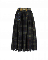 THOUGHTFUL: Full, pleated skirt in multi-colour check with lace hem