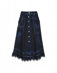 ENDEAVOUR: A-line button through denim skirt with embroidered hem