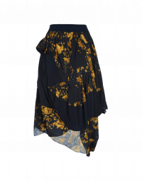 LIVEN-UP: Navy and gold camo-floral print rayon and cupro skirt