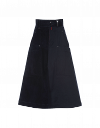 FLIP OUT: A-line skirt in flocked and plain navy twill