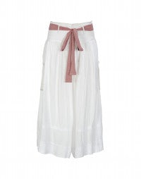 MINSTREL: White 3/4 leg skirt-pants