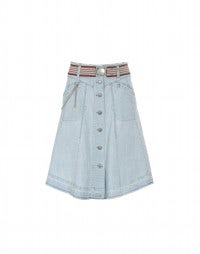 DUSTY: Pale blue bleach-out denim skirt