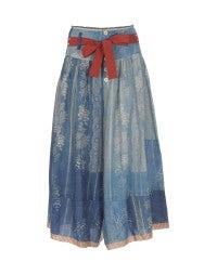 MINSTREL: Vintage blue floral 3/4 leg skirt-pants