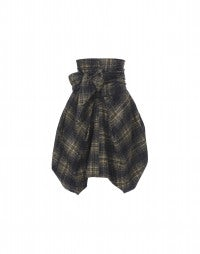CELT: High waist tie tartan skirt in grey, black and mustard