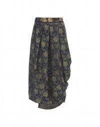 TOTEM: Navy gold metallic jersey skirt
