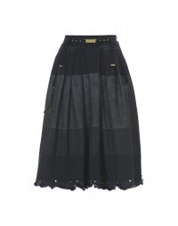 CAVORT: Denim shaded panel skirt