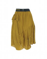 INGLE: Mustard floral and check laser print skirt
