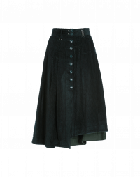 MELLOW: Pleated button-thru skirt in winter green corduroy