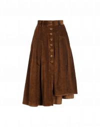 MELLOW: Pleated button-thru skirt in brown corduroy