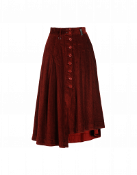 MELLOW: Pleated button-thru skirt in rust red corduroy