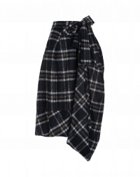 BLUSTERY: Navy check wrap and tie asymmetric pants-skirt