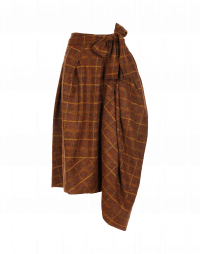 BLUSTERY: Ochre check wrap and tie asymmetric pants-skirt