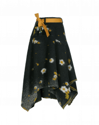 CHAOS: Asymmetrically draped floral blanket skirt