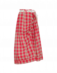 LIMITLESS: Asymmetrically draped skirt in red and tan check